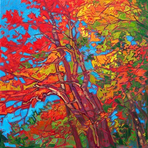 Red Japanese maple tree original impressionist oil painting by Erin Hanson