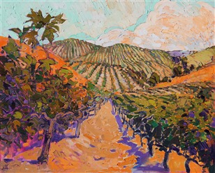 Pinot Noir oldest vines in California, Paso Robles oil painting by landscape painter Erin Hanson.