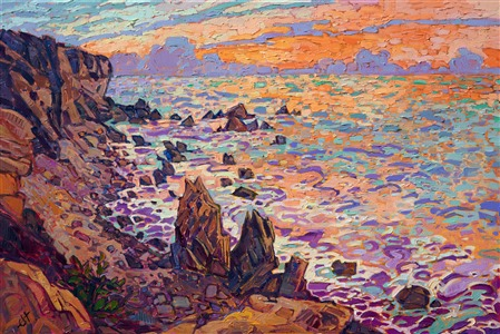 Laguna Beach coastal landscape oil painting for sale by California impressionist Erin Hanson