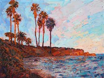 La Jolla Cove oil painting by local landscape painter, artist Erin Hanson.