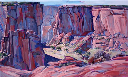 Landmark impressionist oil painting work of Canyon de Chelly by Erin Hanson