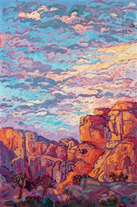 Joshua Tree National Park original oil painting of desert landscape, by imrpessionist painter Erin Hanson