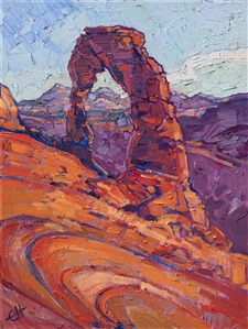 Impressionist landscape painting of Arches National Park by California artist Erin Hanson