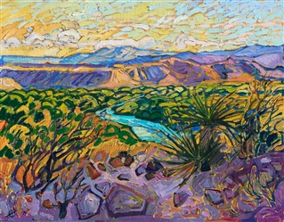 Colorful oil painting of Big Bend, Texas by impressionist artist Erin Hanson