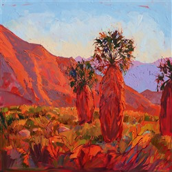 Borrego Springs is painted in hot colors and bold brush strokes, painting by Erin Hanson