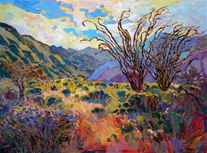 Paintings of the California super bloom desert flowers in Anza Borrego State Park.