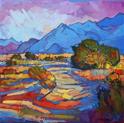 Through the Blue, original oil painting of Borrego Springs, by Erin Hanson