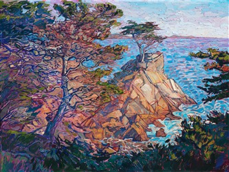 17 Mile Drive painting of lone cypress in Pebble Beach, by California artist Erin Hanson.