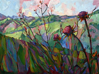 Thistle mosaic oil painting by Erin Hanson