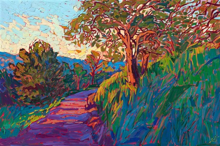 Colorful impressionism oil painting by living artist and impressionist Erin Hanson.