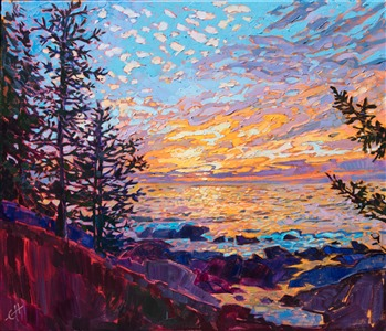 Acadia National Park sunrise original oil painting by modern impressionist Erin Hanson