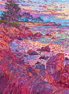 Monterey cypress tree coastal oil painting in a contemporary gold floater frame, by modern impressionist artist Erin Hanson.