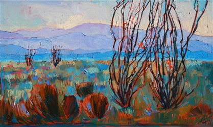 Anza-Borrego California desert oil painting of Ocotillos in bloom, by Erin Hanson