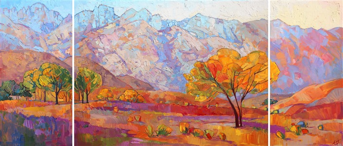 Sierra mountains triptych oil painting, by California impressionist Erin Hanson