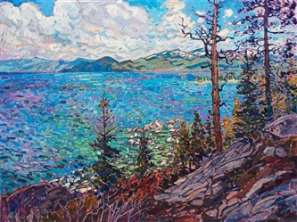 Lake Tahoe landscape oil painting in bright colors and thick impasto texture, by modern impressionist Erin Hanson.