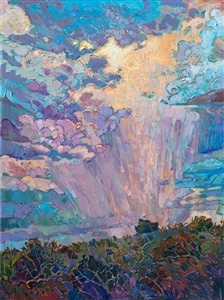 Dramatic sky painting with clouds and rainfall, in a contemporary impressionism style.