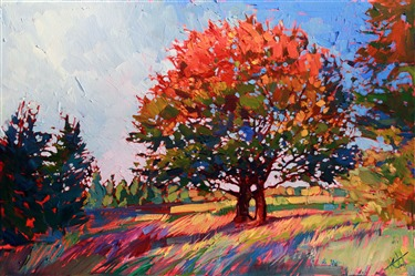 Frosted color brings to life this oak tree, by oil painter Erin Hanson