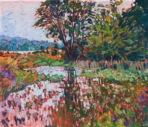 Northern Washington state landscape oil painting by modern impressionist Erin Hanson.