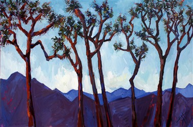 Dancing Joshua Trees intertwine in this whimsical painting by Erin Hanson.