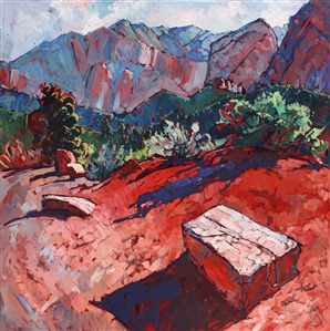 Kolob Canyon Zion landscape oil painting by Erin Hanson