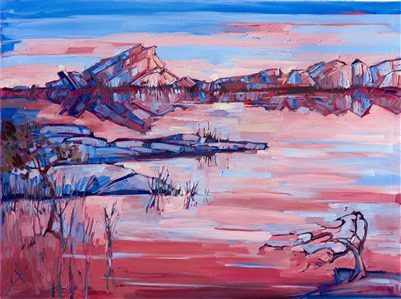 Experimental oil painting of Joshua Tree National Park painted impressionistically by artist Erin Hanson