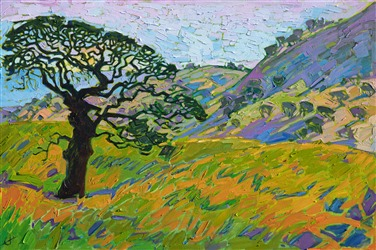 California hills abstract impressionist oil painting by Erin Hanson