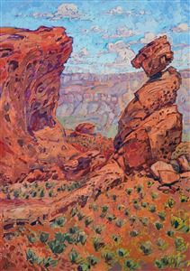 Original oil painting of Valley of Fire State Park, Nevada, by modern impressionis Erin Hanson.