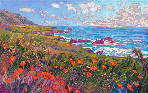 Highway 1 coastal poppies wildflowers, original oil painting by impressionist painter Erin Hanson