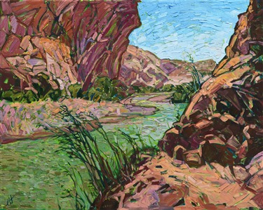 Big Bend Canyon original oil painting by Erin Hanson.