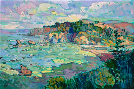Mendocino seascape original oil painting by modern impressionist Erin Hanson