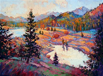 Whitefish Montana landscape oil painting in vivid color and bold brush strokes, by Erin Hanson