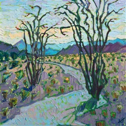 Ocotillo painting hanging at the Museum of the Big Bend, in Alpine TX, by contemporary artist Erin Hanson.