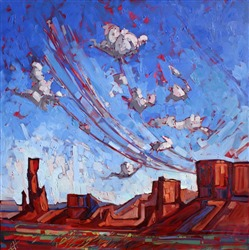 Geometric desertscape of southern Utah, original oil painting by Erin Hanson.
