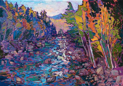 White Mountains landscape original oil painting for sale by American impressionist Erin Hanson