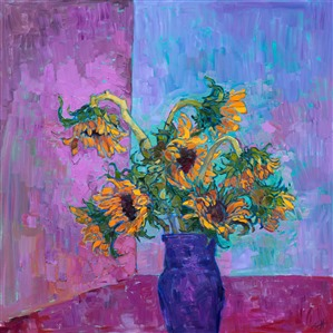 Still life sunflower painting by contemporary impressionist Erin Hanson.