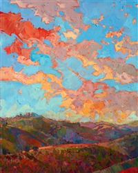 Clouds over Paso, orignal diptych oil painting in a contemporary style by Erin Hanson, exhibited Cowgirl Up! 2017.