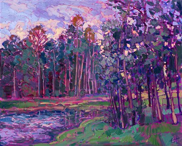 Lake Woodlands Texas landscape oil painting by Erin Hanson