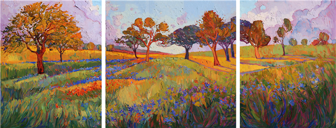 Texas-inspired painting of color drenched landscape, by artist Erin Hanson