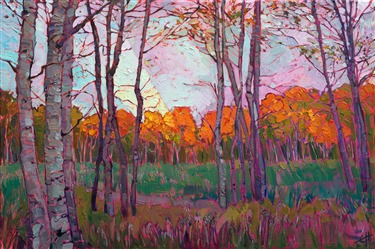 Utah aspens landscape painted in oils by modern impressionist Erin Hanson