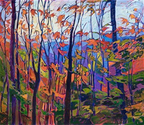 Stained glass oil painting of autumn leaves, by Erin Hanson.