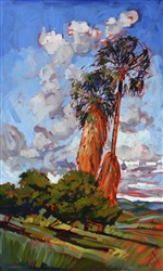 San Diego palm trees grace this painting with color and life, work by Erin Hanson