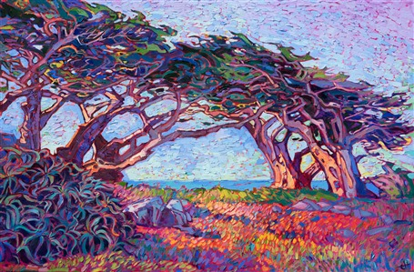 Pebble Beach original oil painting by modern impressoinist painter Erin Hanson