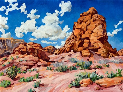 Utah landscape oil painting of red rock boulders contrasted against a vibrant blue sky and clouds by impressionist artist Erin Hanson