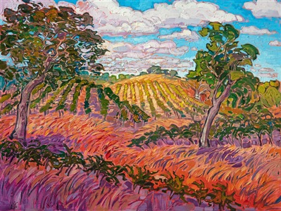 Paso Robles winery vineyards original oil painting landscape for sale by artist Erin Hanson