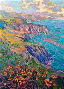 California Highway 1 in bloom, orignal impressionist oil painting for sale by Carmel artist Erin Hanson