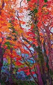 Japanese maple tree oil painting by modern impressionist Erin Hanson