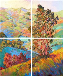Large quadtych modern oil paintings for sale by expressionst painter Erin Hanson