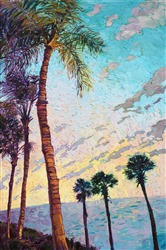 Clearwater Florida Palms painting in a contemporary open impressionist style, by Erin Hanson.