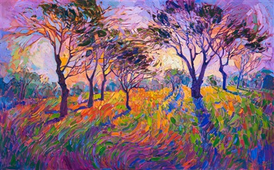 Crystal Light series oil painting dramatic colorful landscape in a new style by Erin Hanson.
