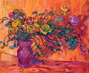 Still life impressionism oil painting by Erin Hanson